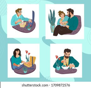 Set of people men and women eating and having a bite. Lunch break or dinner time in office or at home. Healthy and unhealthy food, dieting and snacking. Flat vector illustration isolated.