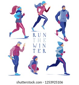 Set of people, men and women, running in winter season, flat cartoon vector illustration isolated on white background. Set of men and women running, jogging in winter season, dressed in warm clothes