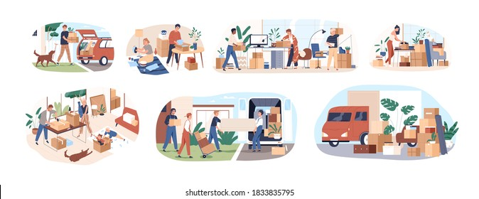 Set of people moving or leaving their homes and offices. Family couples pack belongings and relocating to new apartments. Transportation service. Flat vector cartoon illustration isolated on white