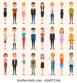 set of people in occupation. illustration vector of a flat design.
