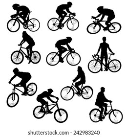 Set of People on Bikes-Silhouettes. Vector Image
