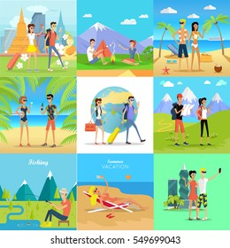 Set of people on summer vacation concepts. Man and woman characters traveling and resting in Asia, mountain meadow, seacoast, beach, river bank flat vector illustrations. For travel company ad