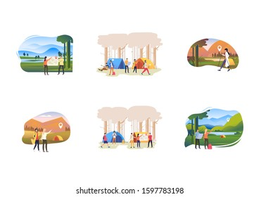 Set of people pointing at camping, traveling on foot. Flat vector illustrations of outdoor tourism. Activity concept for banner, website design or landing web page