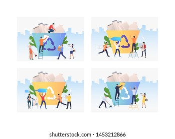 Set of people putting things to recycle bin. Group of men and women throwing garbage away. Waste products concept. Vector illustration can be used for presentation slide, new project, commercial