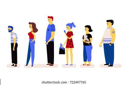 set of people. queue. line of people. vector funny illustration. character design