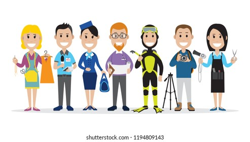 Set of people related to the different professions such as seamstress, journalist and others, vector illustration