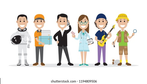 Set of people related to the different professions such as astronaut, courier and others, vector illustration