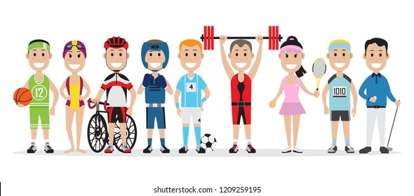 Set of people related to the different sports such as basketball, swimming and others, vector illustration