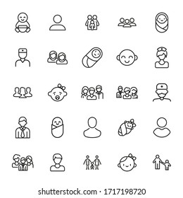 Set of people related vector line icons. Premium linear symbols pack. Vector illustration isolated on a white background. Web symbols for web sites and mobile app. Trendy design.