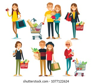 Set of people with shopping bags and carts