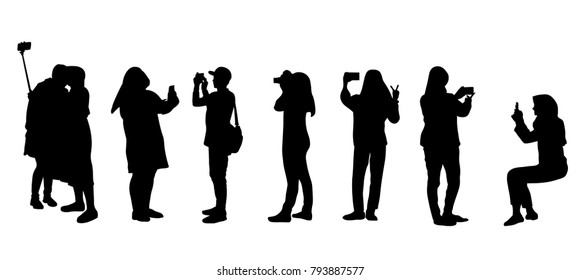 Set of people silhouette making photos during vacation or traveling. Most people are muslim women