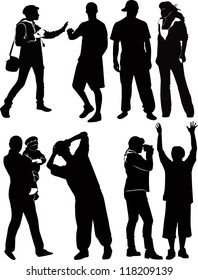 set of people silhouettes isolated on white background