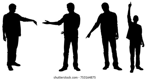 set of people silhouettes pointing with fingers