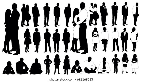 Set of people silhouettes, vector