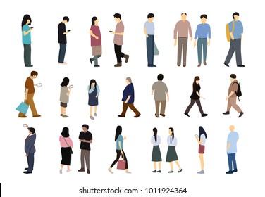 Set of people in simple flat cartoon ,vector design