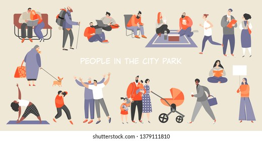 A set of people spending time in the city park. Isolated characters jogging, doing yoga, reading books, working, walking with family and friends, having a picnic, hiking