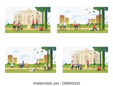 Set of people spending time outdoors. Flat vector illustrations of people walking. Outdoor activities concept for banner, website design or landing web page