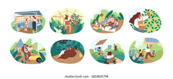 Set of people spending time at summer cottage or dacha vector flat illustration. Collection of man, woman, children and pet picking harvest, relaxing, planting and cultivation together isolated