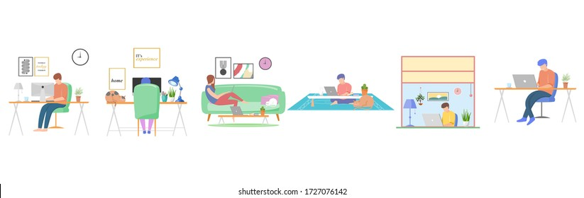 Set of people stay home. People working at home. People are reading good news. People relaxing at home. Vector illustration.
