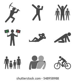 Set of people stick man icons trendy flat style isolated on white background. Vector illustration elements for your web site design, logo, app, UI