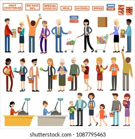 Set of people in a supermarket on a white background. Shopping, products, purchases. Vector illustration