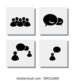 set of people talk discuss meet - vector icons. this also represents concepts like online chat, phone chat, exchange views, group chat, internet communication, interaction