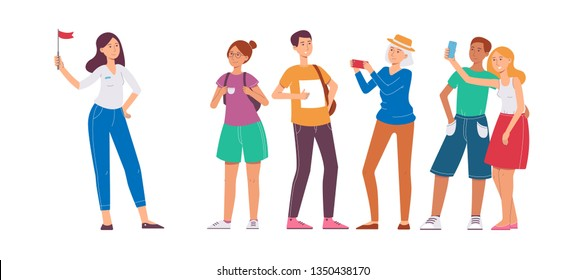 Set of people traveling and vacation, tour guide woman with group of tourists. A tour guide holding a red flag shows sights to people, tourists. Isolated vector flat illustration.