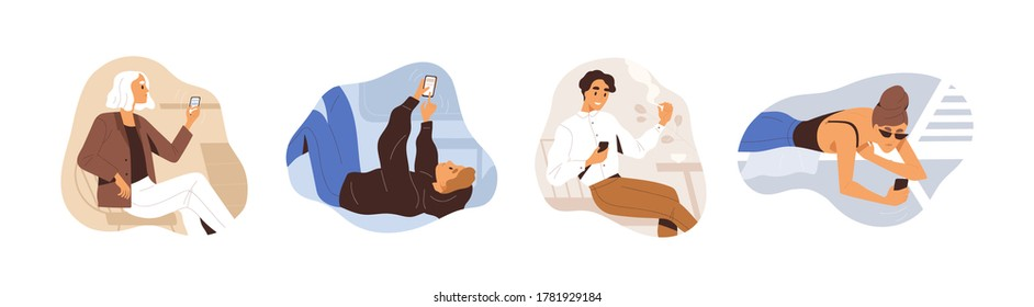 Set of people use smartphone vector flat illustration. Man and woman chatting or surfing internet during relaxing, smoking, lying or sitting isolated on white. Collection of person hold mobile phone