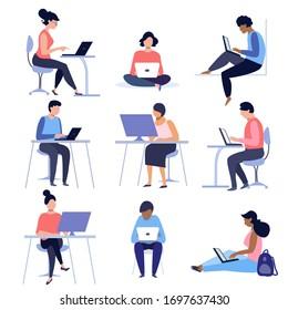 Gruppe von Leuten, die Laptops und Computer benutzen. Illustration zum Thema Fernarbeit, Freizeit- und Internetunterhaltung.