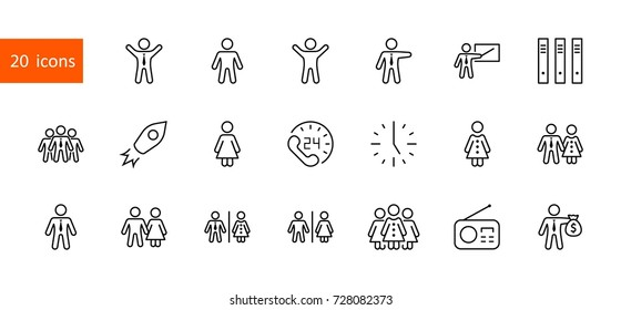 Set of people vector line icons. It contains the symbols of a man, a woman, a family, a toilet, a businessman, a teacher, and much more. Editable move. 32x32 pixels.