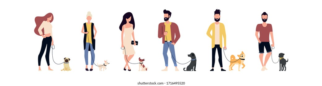 Set of people walking dogs. Time with pets. Flat style. Vector lustration.