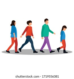 Set of People Walking Vector Flat Illustration, isolated in white background