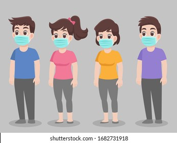 Set of people wearing protective Medical mask for prevent virus Wuhan Covid-19.Corona virus, character pose front side cartoon. Healthcare concept.
