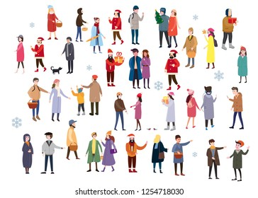 Set of people wearing top winter clothes isolated on white background. A large group of men and women, couples, walking in the winter, drinking drinks, talking, shopping and other outdoor activities