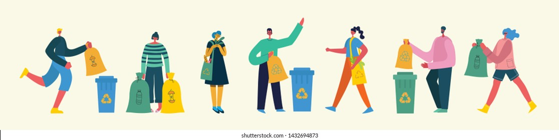 Set of people, which engaged in recycling garbage. Vector illustration in the flat style.