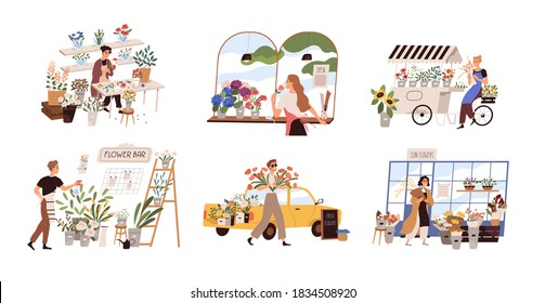 Set of people work at florist shop or store. Woman compose bouquet on table, man spray, hold, carry fresh flowers from car. Floristry handicraft on white. Flat vector cartoon isolated illustration