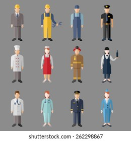 Set of people workers in uniform icons in flat style with faces. Vector men and women character. Template concept collection of web profile avatar.