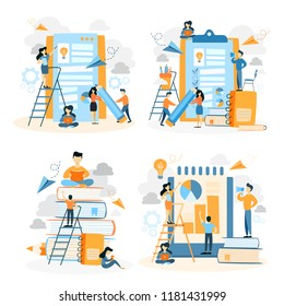 Set of people working with a clipboard. Teamwork and checklist filling. Idea of business growth and team. People sitting on the pile of book and study. Isolated vector illustration