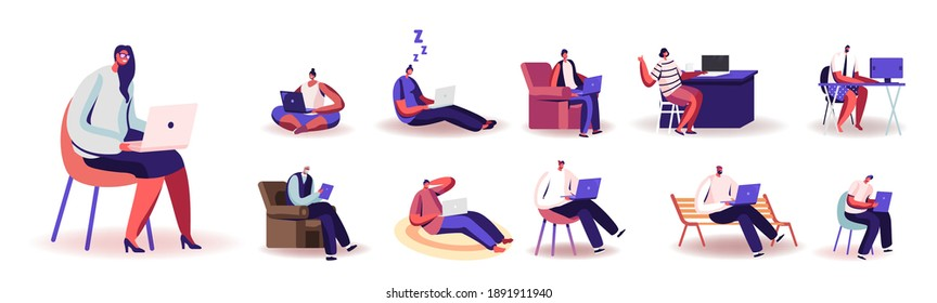 Set of People Working from Home on Computers. Male and Female Characters Remote Workplace, Homeworking, Freelance Self-employed Occupation Isolated on White Background. Cartoon Vector Illustration