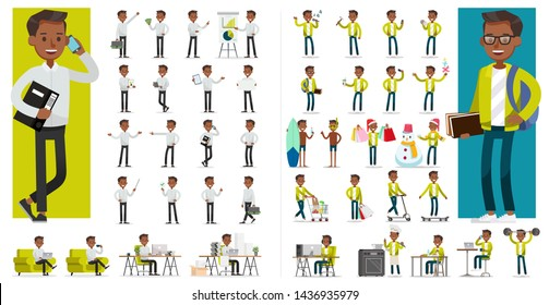 Set of people working and lifestyle character vector design. Presentation in various action with emotions, running, standing and walking.