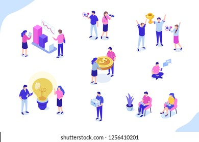 Set of people working together. Can use for web banner, infographics, hero images. Flat isometric vector illustration isolated on white background.