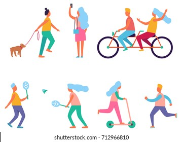Set of peoples activities such as walking the dog, cycling and running, skating and playing badminton, taking pictures vector illustration