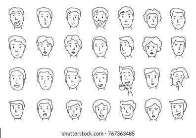 Set of peoples faces. Different emotions. Painted by hand. Lines in pencil sketch
