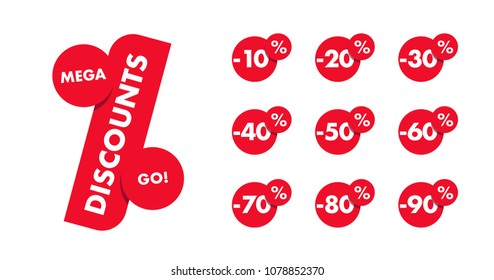 Set of percent discounts with logo label in a shape of discount sign with all numbers off in circles, isolated red labels