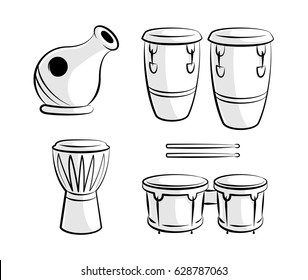Set of Percussion Drum Instruments