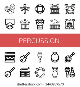 Set of percussion icons such as Maracas, Drums, Samba, Drum, Tambourine, Bongo, Drum set, Drum kit, Banjo, Double bass, Castanets, Conga , percussion