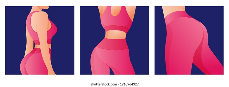 Set of Perfect slim toned young body of the girl. sporty woman in sportswear, shorts butt icon for mobile apps, slim body, vector illustration.