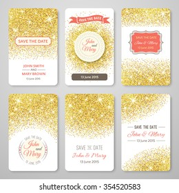 Set of perfect wedding templates with golden confetti theme. Ideal for Save The Date, baby shower, mothers day, valentines day, birthday cards, invitations. Vector illustration for gold design.