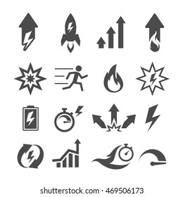 Set of performance, action, efficiency, growth icons. Vector illustration