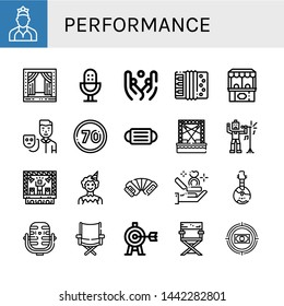 Set of performance icons such as Dancer, Stage, Microphone, Juggling, Accordion, Ticket office, Actor, Speed limit, Mask, Singer, Clown, Proposal, Domra, Directors chair , performance